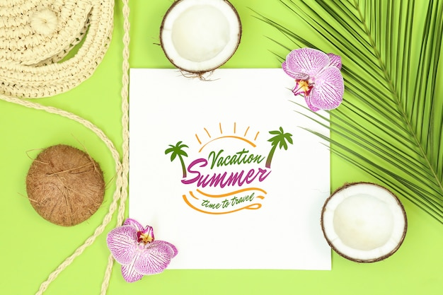 Summer mockup frame on green background