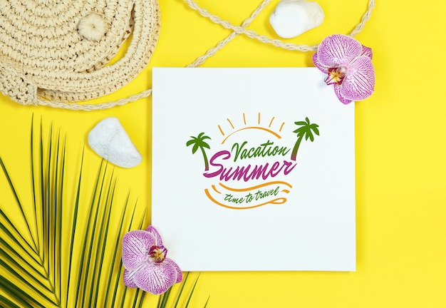 Summer mockup frame with straw bag on yellow background