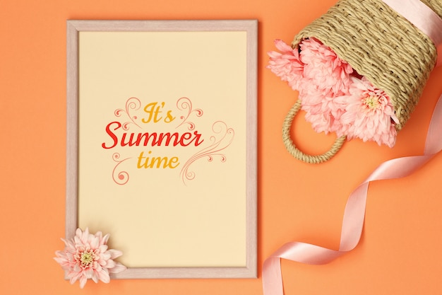 Summer mockup photo frame with ribbon and basket of flowers