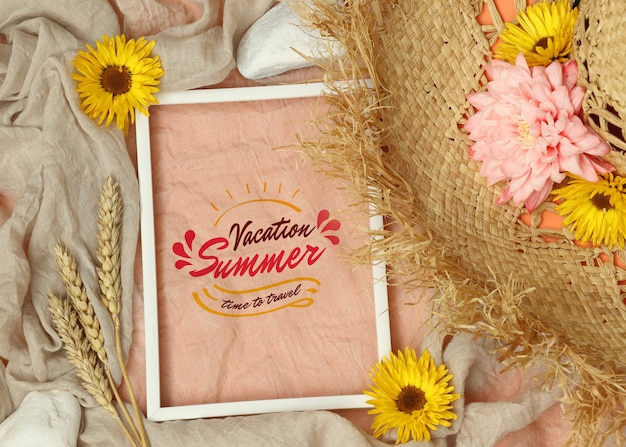 Summer mockup photo frame with straw hat