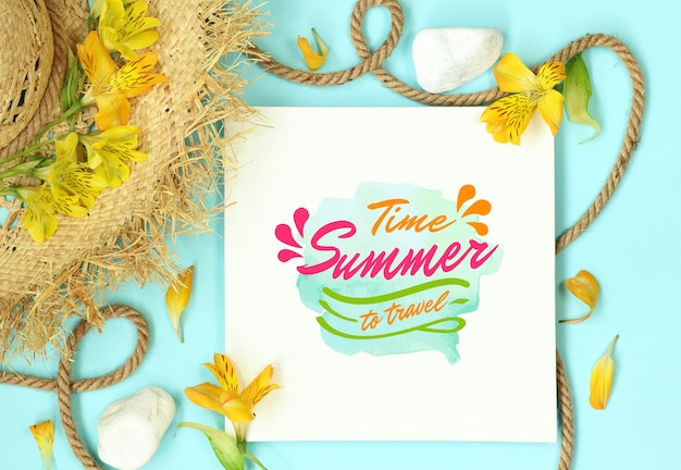 Summer mockup template with straw hat and rope