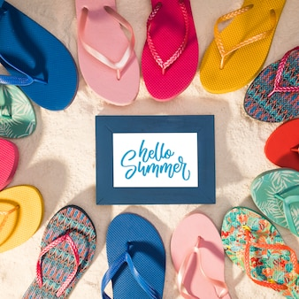 Summer mockup with colorful sandals