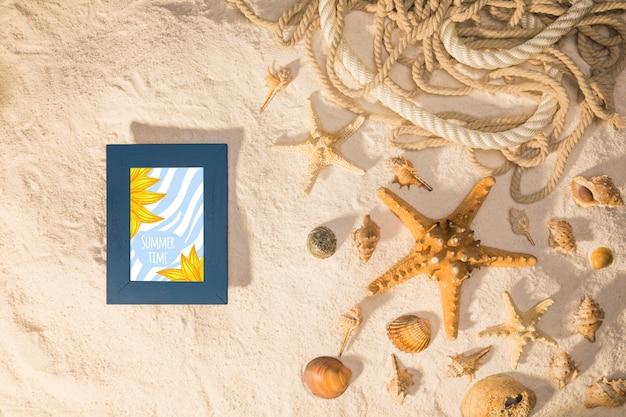 Summer mockup with marine elements