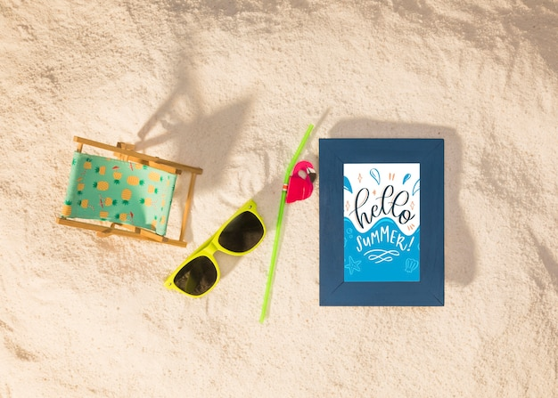Summer mockup with a sunglasses