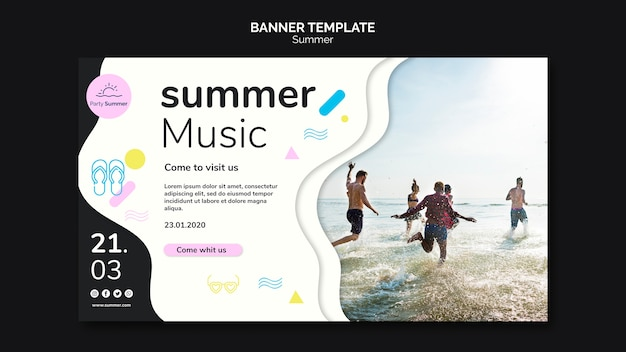 Summer music and beach banner
