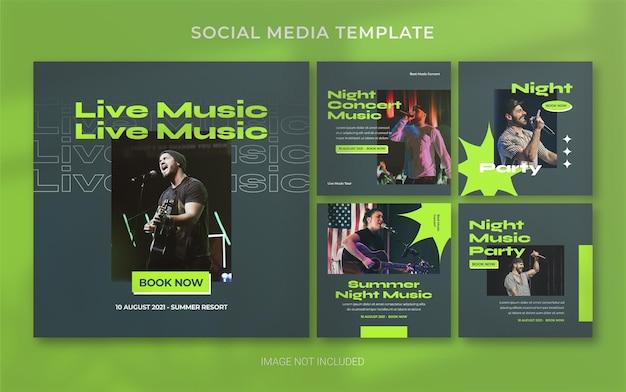 Summer music concert retro social media post banner layout