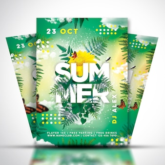 Summer music festival flyer or poster template