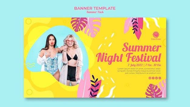 Summer night festival banner template