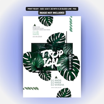 Summer night party flyer with tropical plant