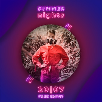 Summer nights party banner in neon lights style