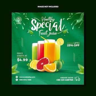 Летний органический фруктовый сок напиток пост в социальных сетях баннер
