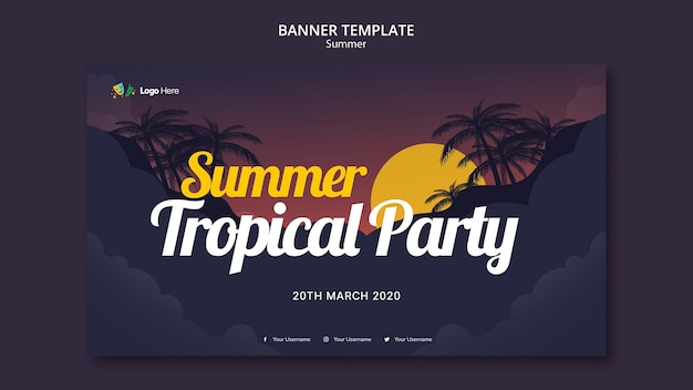 Summer party banner template