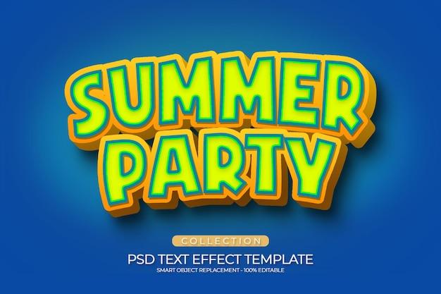 Шаблон пользовательского текстового эффекта летней вечеринки в мультяшном стиле Premium Psd