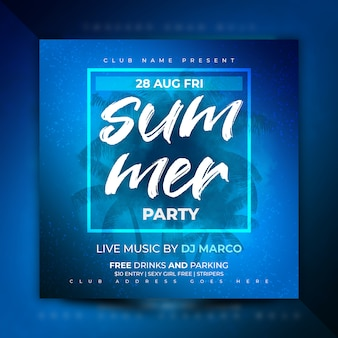 Summer party flyer template or social media post