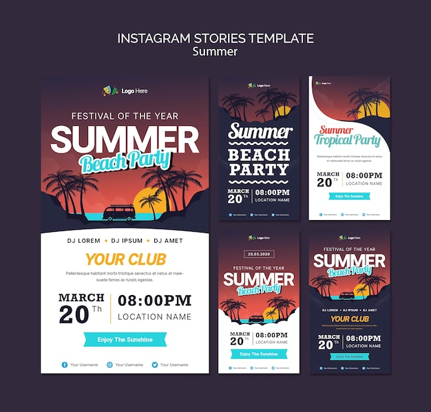 Summer party instagram stories template