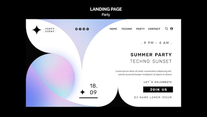 summer party landing page template
