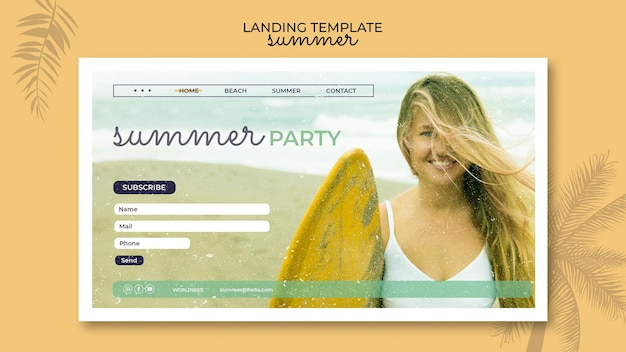 Целевая страница летней вечеринки