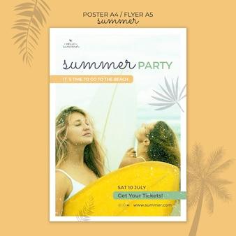 Modello del manifesto della festa estiva