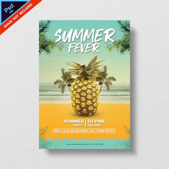 Summer party style flyer template design