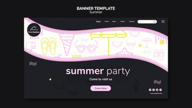 Summer party time banner template