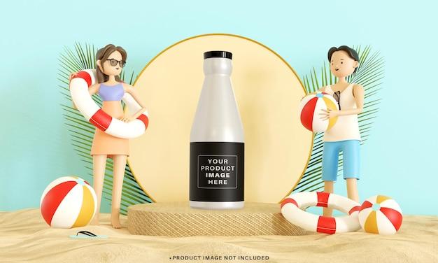 3d 인간 캐릭터가있는 제품 전시용 여름 연단