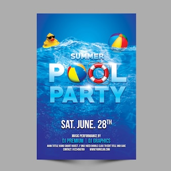 Summer pool party template