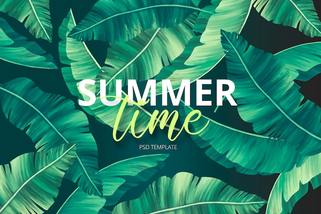 Summer print template with hand painted leaves