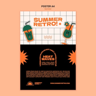 Summer retro event poster template