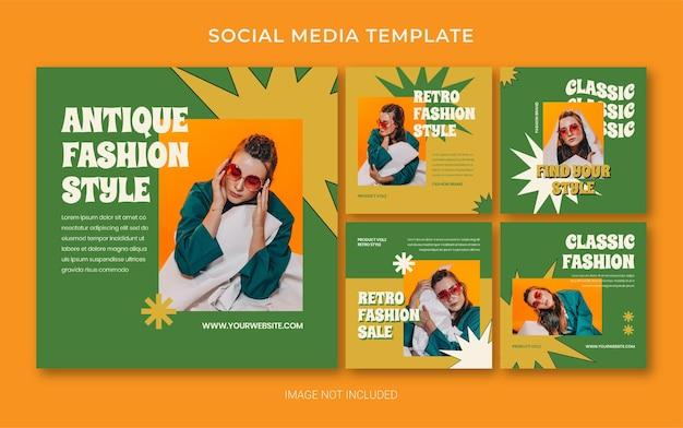 Summer retro fashion social media post banner layout