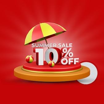 Летняя распродажа скидка 10% на 3d-рендеринг изолированы