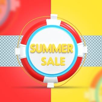 Summer sale 3d rendering design with float