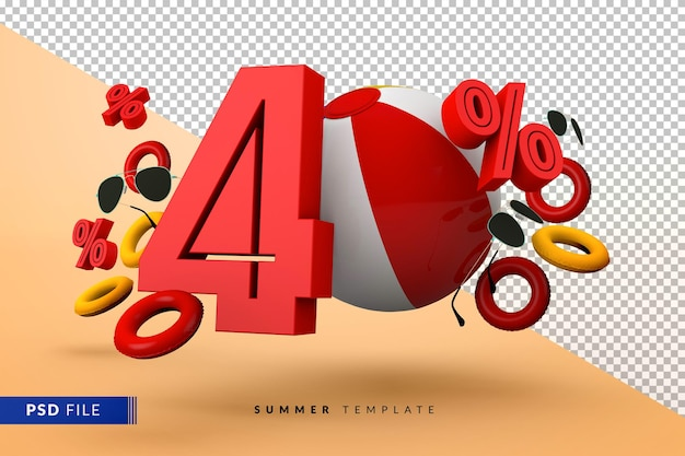 Летняя распродажа со скидкой 40% с изолированными пляжными аксессуарами