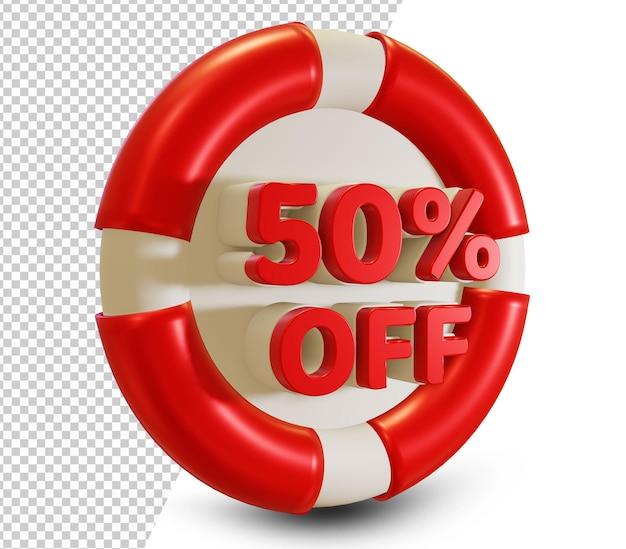 Летняя распродажа скидка 50 процентов на 3d дизайн psd
