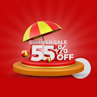 Летняя распродажа 55% от 3d-рендеринга изолированной премии