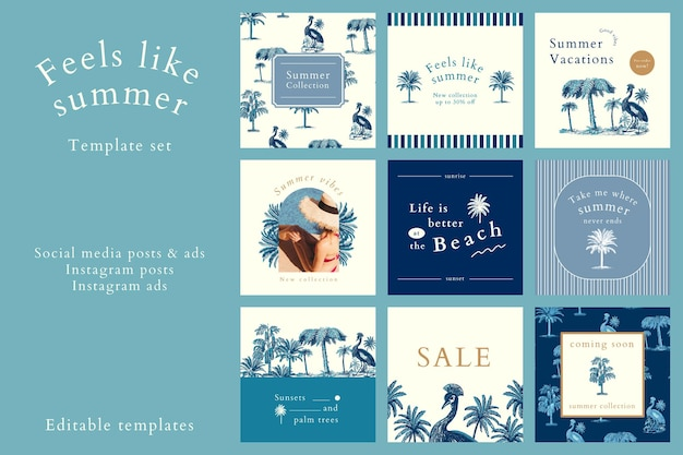 Summer sale ads psd for social media
