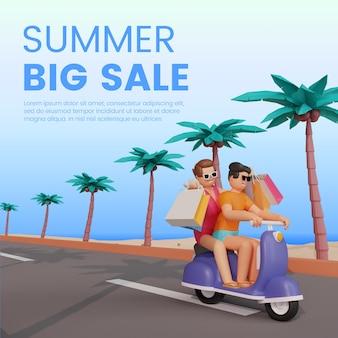 3d 캐릭터와 스쿠터가 있는 여름 판매 배너 템플릿 premium psd