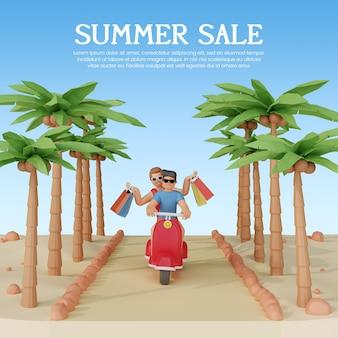 3d 캐릭터와 스쿠터 여름 판매 배너 서식 파일