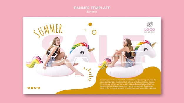 Summer sale banner template with photo