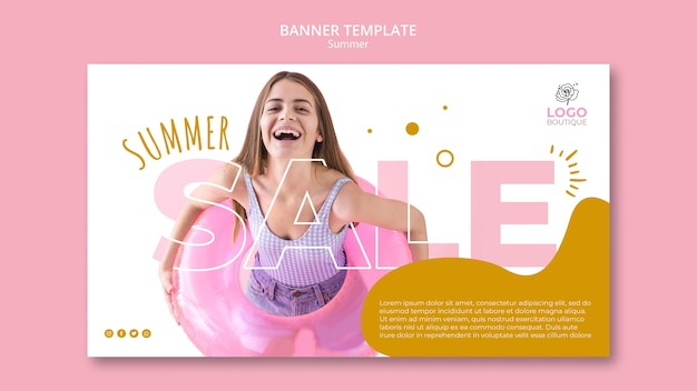 Summer sale banner with photo