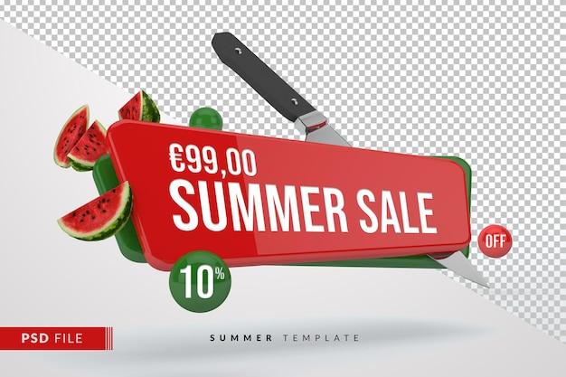 Летняя распродажа баннер с фруктами арбуза изолированы
