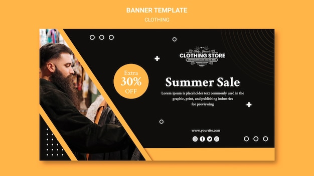 Summer sale clothing store banner template