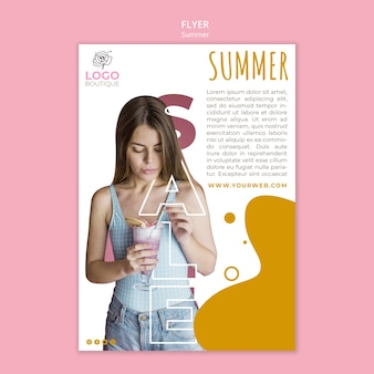 Summer sale flyer template with photo