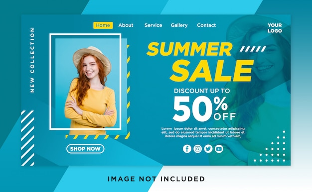 Summer sale landing page header template