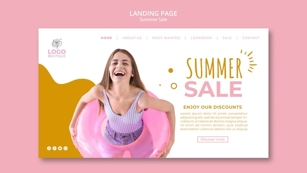 Summer sale landing page template with photo