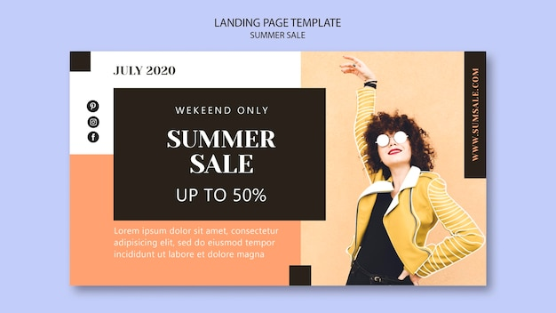 Summer sale landing page template