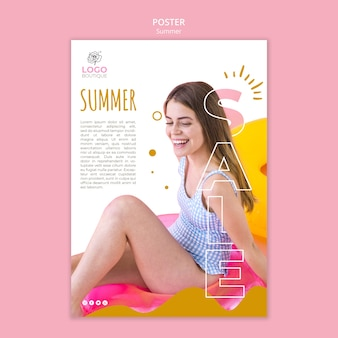 Summer sale poster template with photo of girl