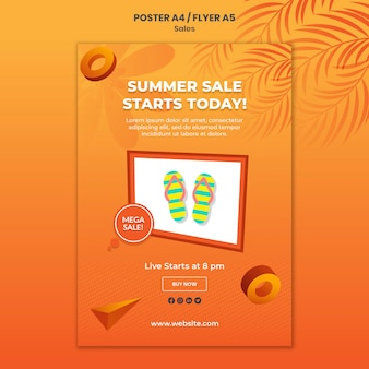 Summer sale poster template Free Psd