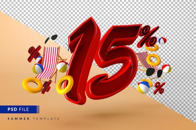 Летняя распродажа со скидкой 15% на рекламные акции и пляжные аксессуары Premium Psd