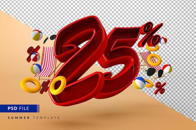 Летняя распродажа со скидкой 25% на рекламные акции и пляжные аксессуары Premium Psd