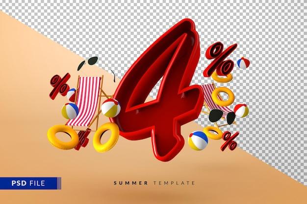 Летняя распродажа, скидка 4% на рекламные акции с изолированными пляжными аксессуарами